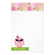 Pink Owl With Sunglasses & Patchwork Stationery