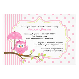Pink Owl with Umbrella Girls Baby Shower Personalized Invitations