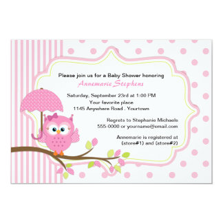 Pink Owl with Umbrella Girls Baby Shower 5x7 Paper Invitation Card