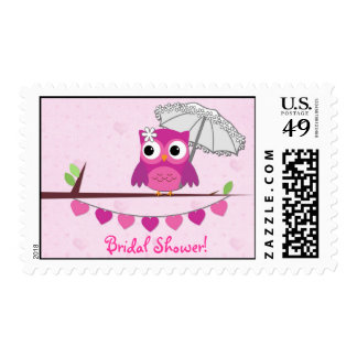 Pink Owl with Umbrella Postage Stamp