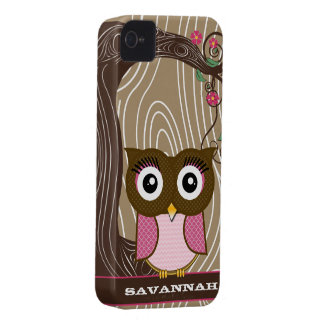 Pink Owl Wood Grain Tree Zig Zag Choose Colors iPhone 4 Case-Mate Cases