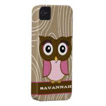 Pink Owl Wood Grain Zig Zag Choose Colors iPhone 4 Case-Mate Case