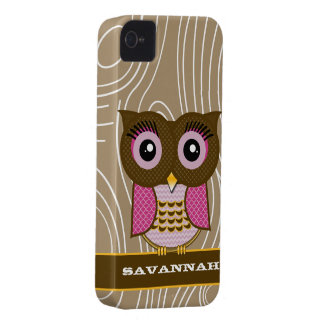 Pink Owl Wood Grain Zig Zag Choose Your Color iPhone 4 Case-Mate Case
