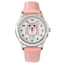 Pink Owl Wrist Watch