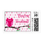 Pink Owl You're Invited Postage