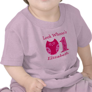 Pink Owls 1st Birthday Personalized T-Shirt