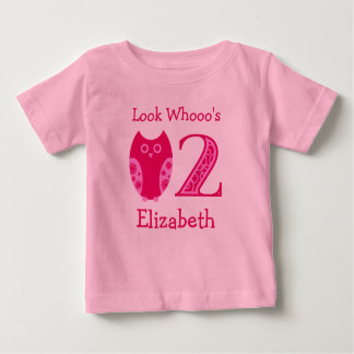 Pink Owls 2nd Birthday Personalized T-Shirt