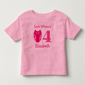 Pink Owls 4th Birthday Personalized T-Shirt