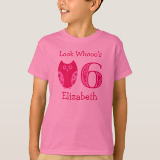 Pink Owls 6th Birthday Personalized T-Shirt