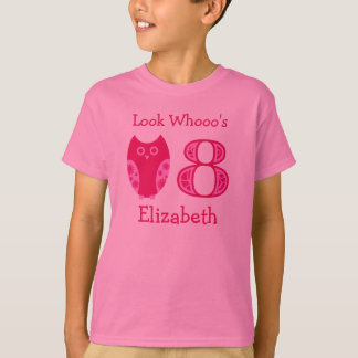 Pink Owls 8th Birthday Personalized T-Shirt