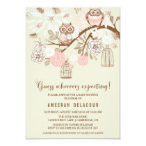 Pink Owls and Birdcages Baby Shower Invitation