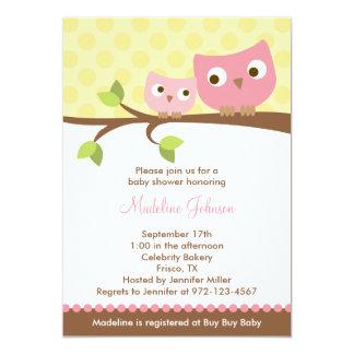 PInk Owls Baby Shower Invitation