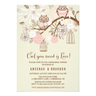 Pink Owls Birdcages Rehearsal Dinner Invitation