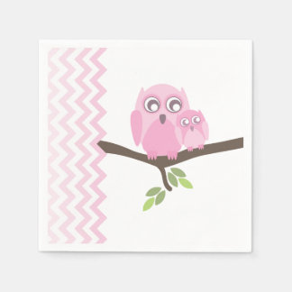 Pink Owls + Chevron Girl Baby Shower Napkins