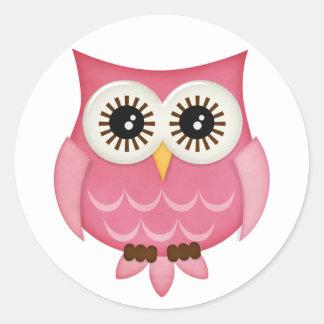 Pink Owls Classic Round Sticker