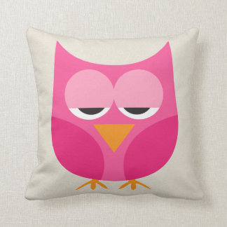 Pink Owls - Different Owl on Back - Faux Canvas Pillows