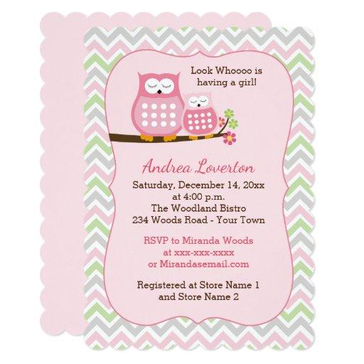 Pink Owls Girl Baby Shower Invitation Die Cut
