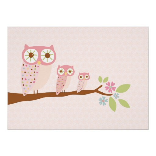 Pink Owls in a Row canvas/print