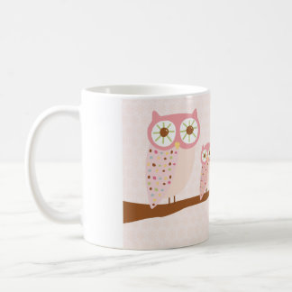 Pink Owls in a Row Mug