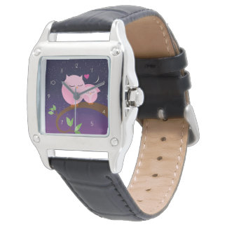 Pink Owls Mom And Baby Wrist Watch