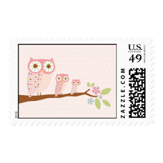 Pink Owls on a branch postage stamp