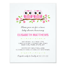 Pink owls on floral branch twin girls baby shower card