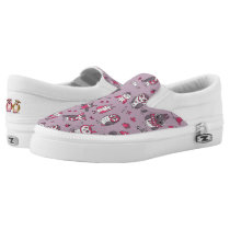 Pink owls pattern Slip-On sneakers
