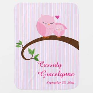 Pink Owls Personalized Baby Blanket