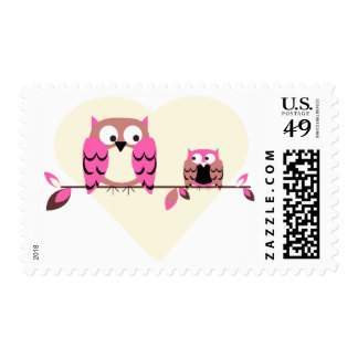 Pink Owls Postage Stamps