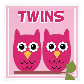 Pink Owls Twin Baby Shower Invitation