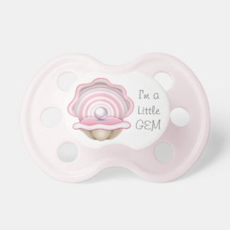 """Pink Oyster with Pearl """"I'm a Little Gem"""" Pacifier"""