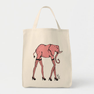 Pink Pachyderm in Stocking Organic Shopping Bag