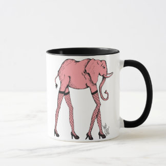 Pink Pachyderm in Stockings Coffee Tea Cup