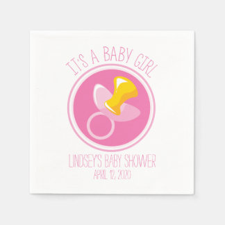 Pink Pacifier   Baby Girl Shower Napkin