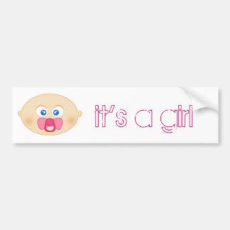 """Pink Pacifier Baby """"It's A Girl"""" Bumper Sticker Car Bumper Sticker"""