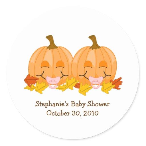 Pink Pacifier Pumpkins Baby Shower Favor Sticker
