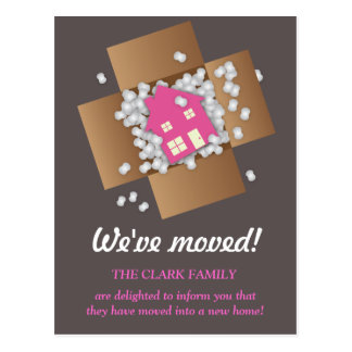 Pink Packing Popcorn Moving Announcement Postcard