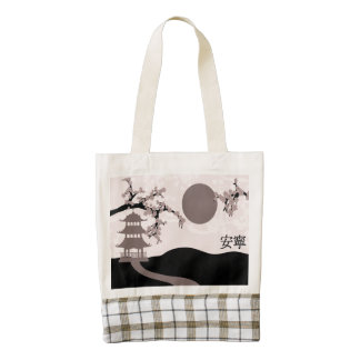 """Pink pagoda landscape """"Tranquility"""" Zazzle HEART Tote Bag"""