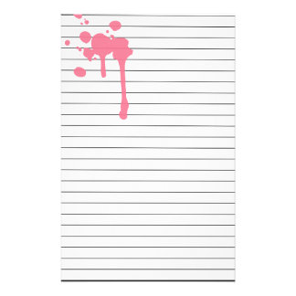 Pink Paint Drips Lined Stationery