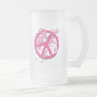 PINK PAINT SPLATTERED PEACE SIGN FROSTED GLASS BEER MUG