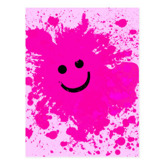 PINK PAINT SPLATTERED SMILEY FACE POST CARDS