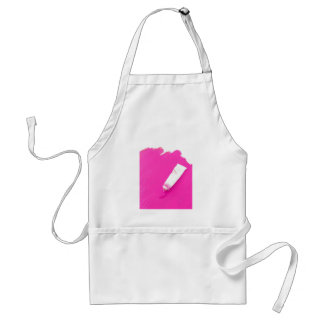 Pink paint with tube spilling out adult apron