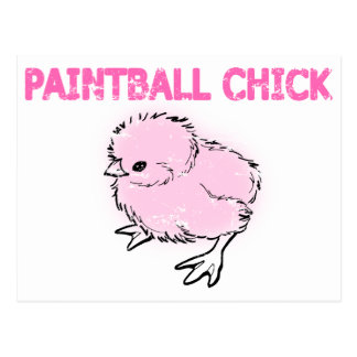 Pink Paintball Chick/Girl Postcard