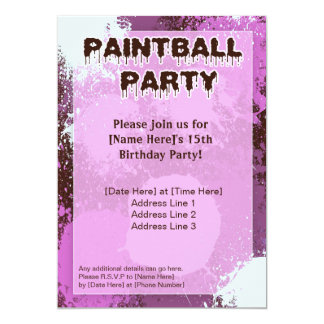 Pink Paintball Party Invite