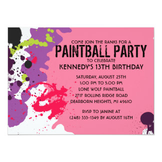 Pink Paintball Splatter Paintball Birthday Party Card