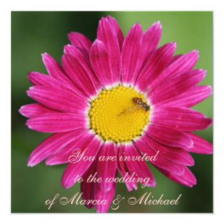 Pink Painted Daisy 5.25x5.25 Square Paper Invitation Card