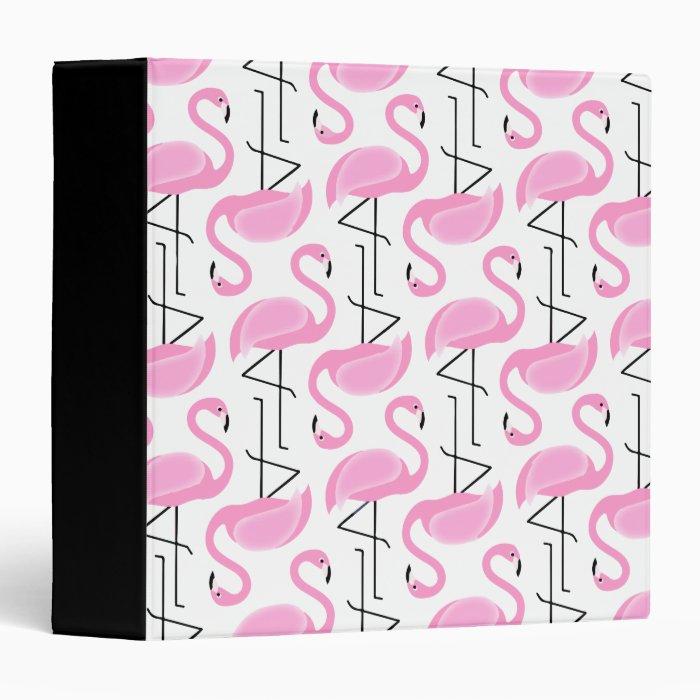 Pink Painted Flamingo Pattern 3 Ring Binder