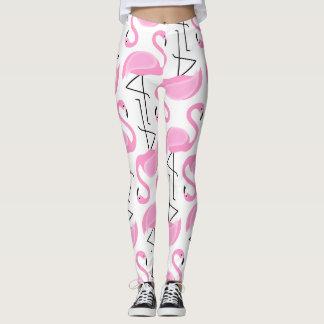 Pink Painted Flamingo Pattern Leggings