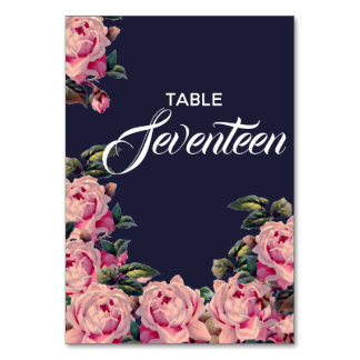 Pink Painted Roses Table Number