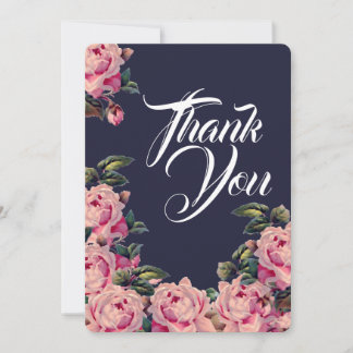 Pink Painted Roses Thank You Card